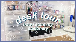 desk tour 💓 | how i store my stationery