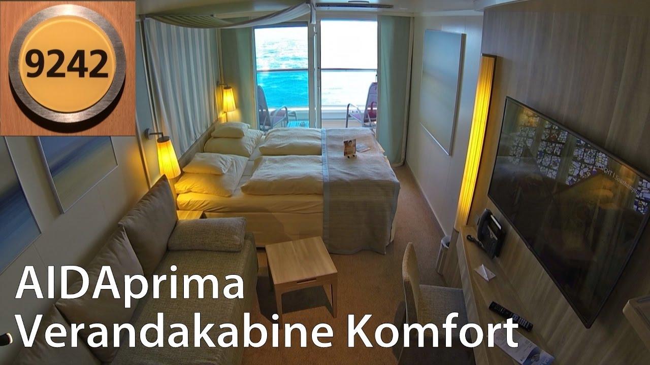 Verandakabine aida  AIDAprima Verandakabine Komfort mit 2 Bädern | Rundgang | 9242 ...