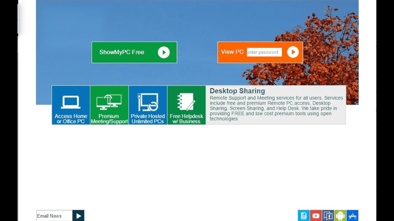 View Remote Screen Using Web Viewer of ShowMyPC Free Version