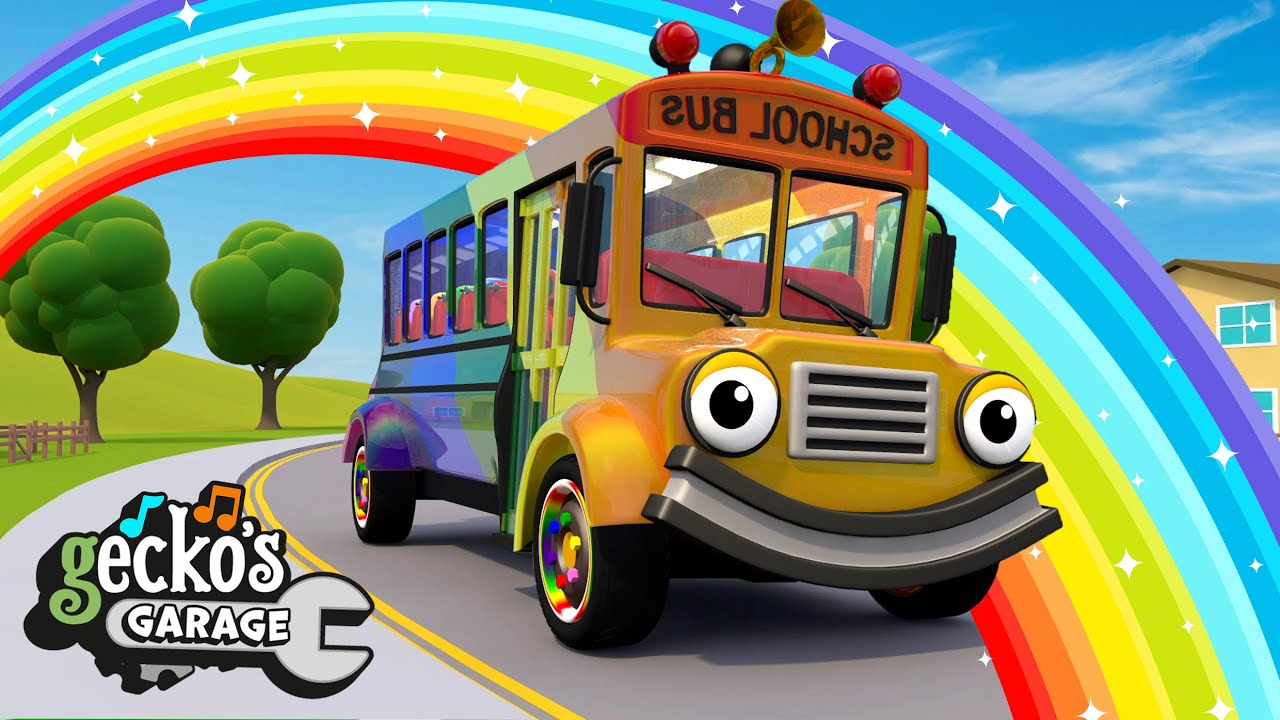 Wheels On The Rainbow Bus | Gecko's Garage | Trucks For Children | Cartoons For Kids