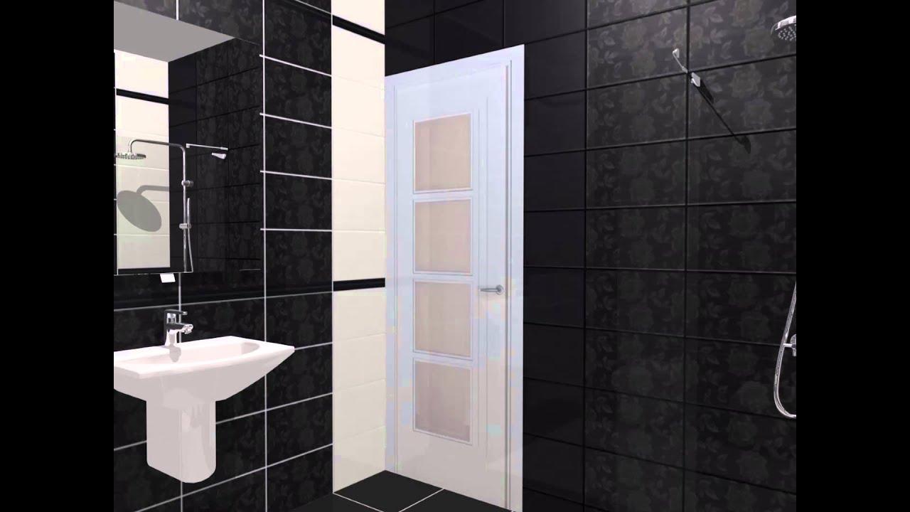 Model de design 3d in alb si negru pentru baie youtube for Modele bai dedeman
