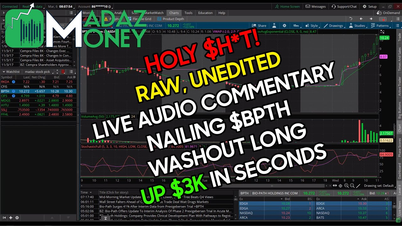 MADAZMONEY LIVE TRADING AUDIO COMMENTARY EXCERPT- RAW EMOTION - $BPTH WASHOUT LONG UP $3K IN SECONDS