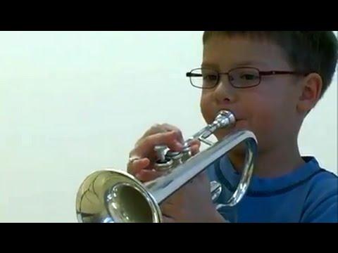 6 year old trumpet kid playing Handel