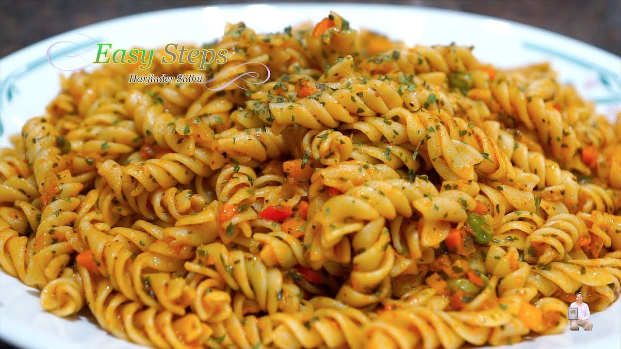 Indian Style Rotini Pasta Quick Easy Vegetarian Pasta Recipe Youtube