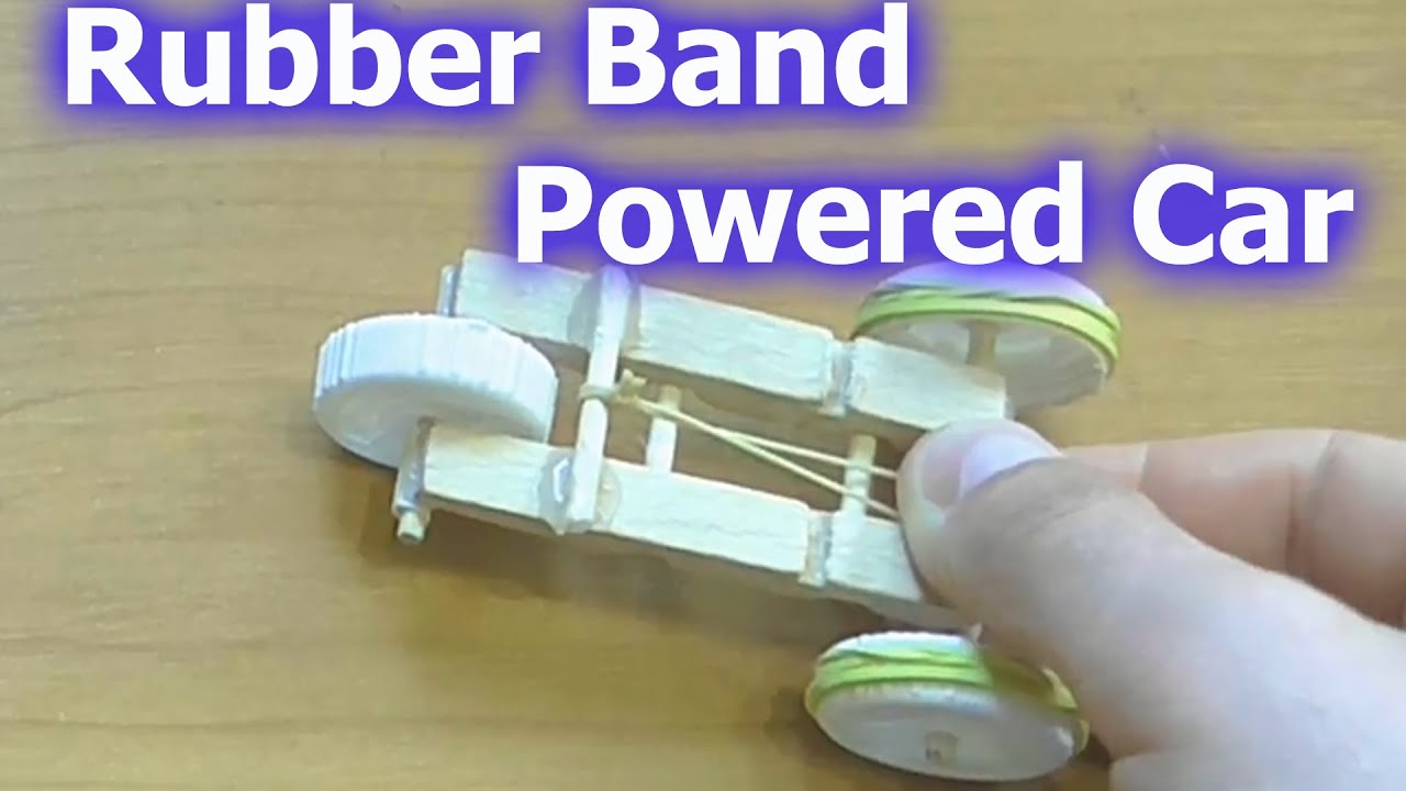 How to make a Rubber Band Powered Car - YouTube