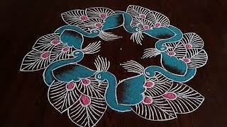 Creative// beautiful peacocks rangoli {7×4} Dot's..