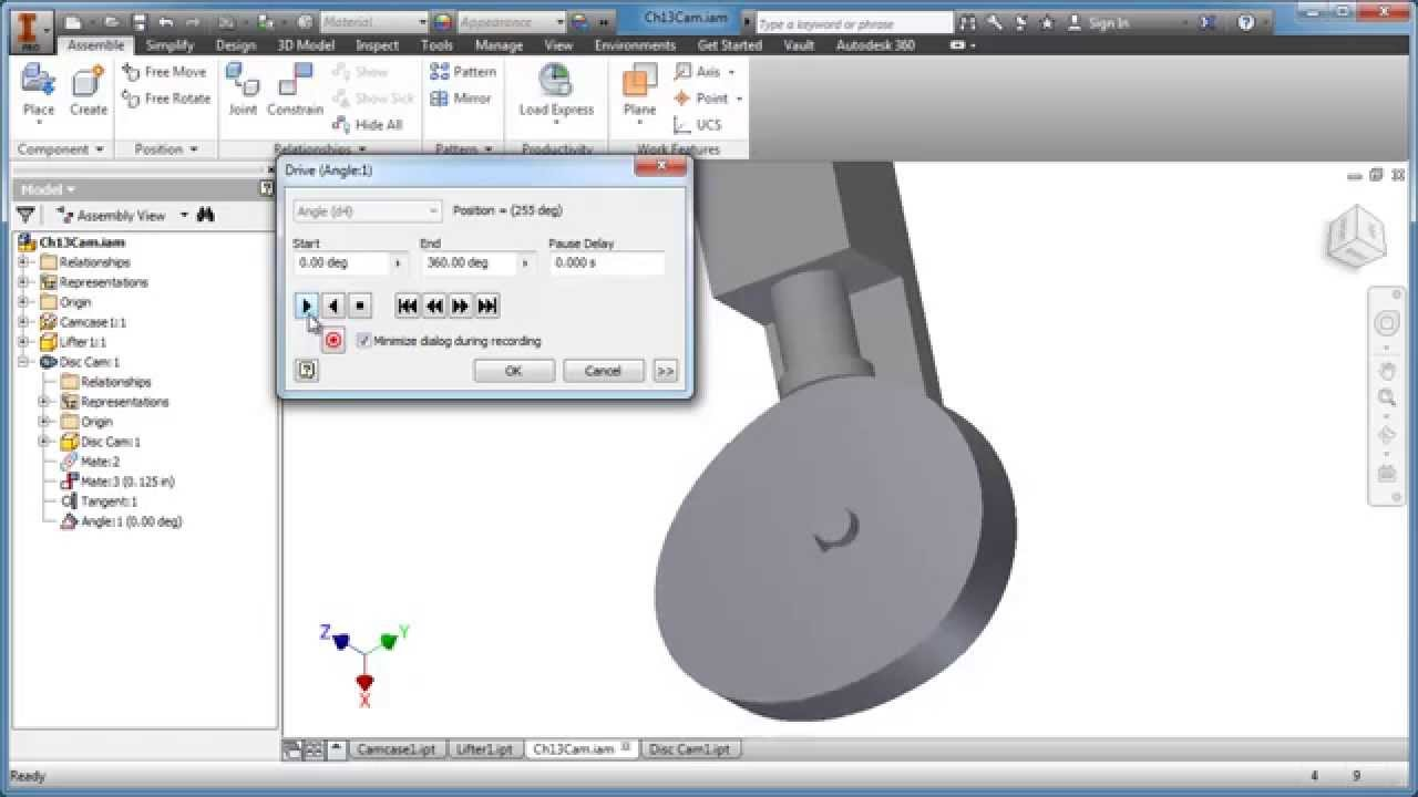 Inventor Tutorial - Cam Design 1 of 2 - YouTube