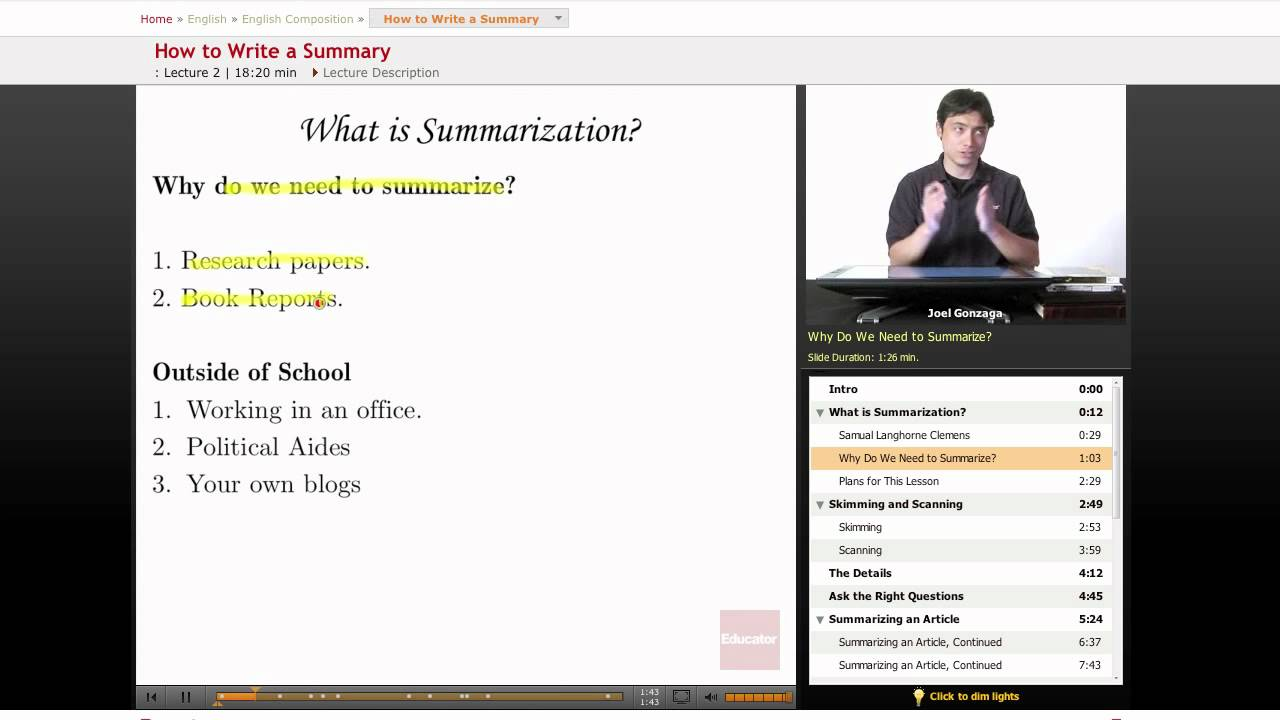 English Composition: How to Write a Summary