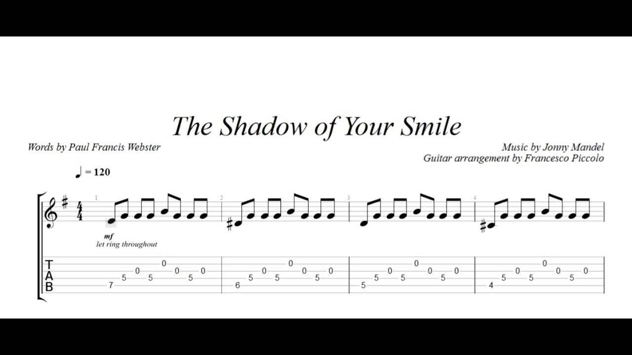 Fingerstyle Guitar The Shadow Of Your Smile From Jazz Tunes Vol2