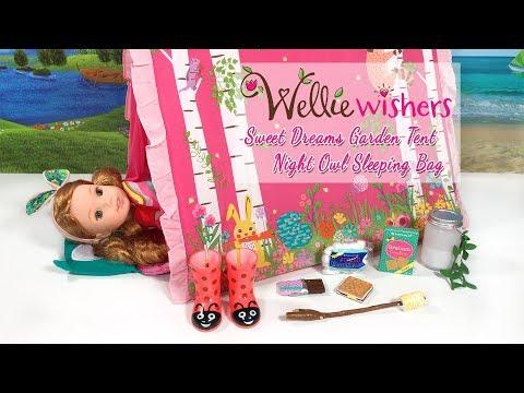 American Girl WellieWishers Sweet Dreams Garden Tent And Night Owl Sleeping Bag