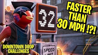 Aller plus vite que 30 à travers les deux pièges de vitesse - Downtown Drop Challenges Fortnite Saison 9