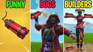 TNT EXPLODES NOSKINS! FUNNY vs BUGS vs BUILDERS - Fortnite Funny Moments