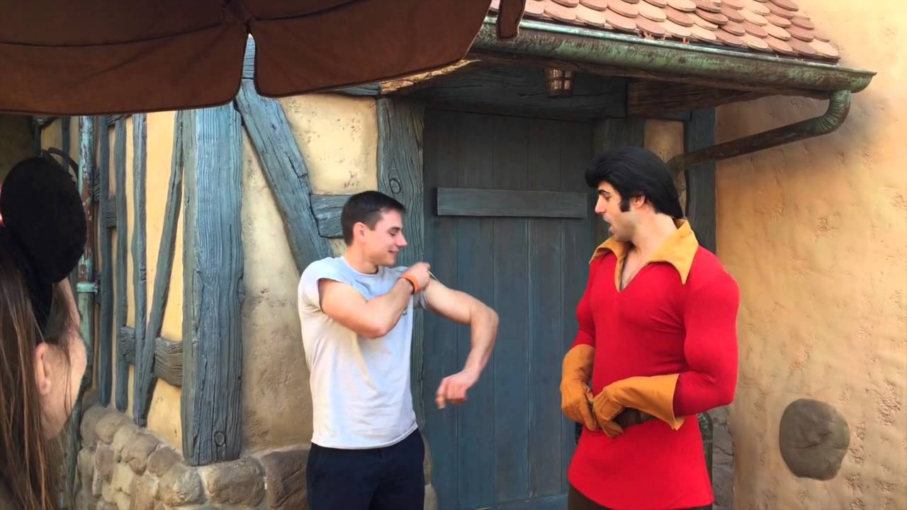 Gaston meet and greet with funny flexing contest youtube m4hsunfo