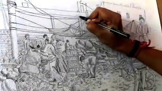 How to draw Indian market with ballpoint pen | Pen Drawing