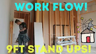 9ft stand ups, work flow series. Smiley and me hang drywall in a 6 plex. fast workers sped up