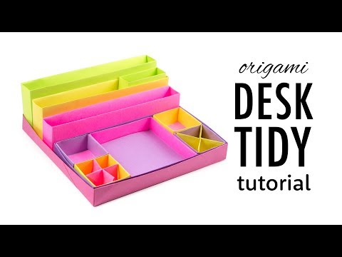Origami Desk Organizer Boxes Tutorial - DIY - Paper Kawaii