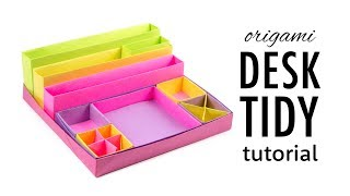 Origami Desk Organizer Tutorial ♥︎ DIY ♥︎ Paper Kawaii