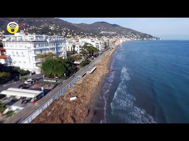 Alassio, detriti sulla spiaggia vista dal drone: video #1