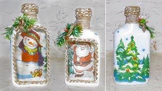 Новогодний декор бутылки. Новогодние поделки своими руками. Декупаж.