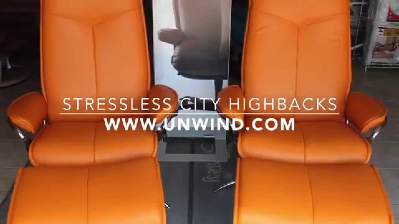ekornes stressless city recliner chair high back youtube. Black Bedroom Furniture Sets. Home Design Ideas