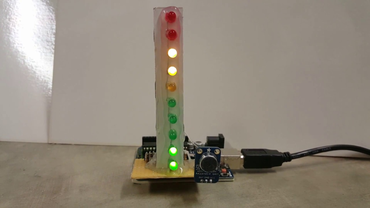 Led VU-METER with Peak hold Arduino Uno and mic  - смотреть