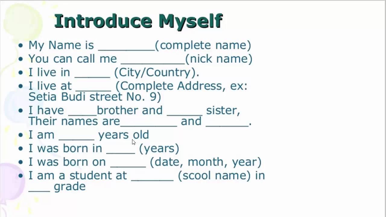 تعلم الانجليزية عرف عن نفسك Introduce Yourself Youtube
