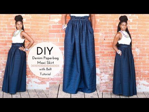DIY Denim Paperbag Maxi Skirt with Belt | Part 1