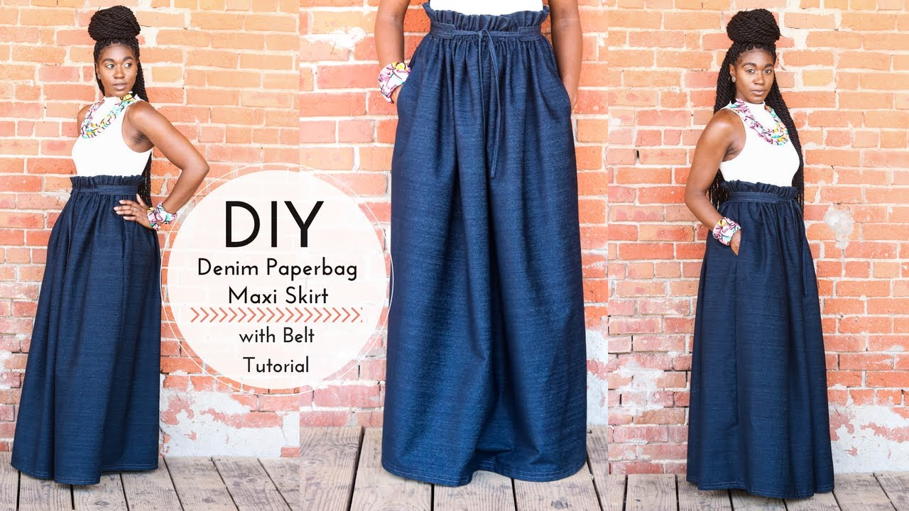 3fe4ab68f5 DIY Denim Paperbag Maxi Skirt with Belt | Part 1 - YouTube
