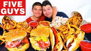 My Little Brother Tries Five Guys For The First Time • MUKBANG