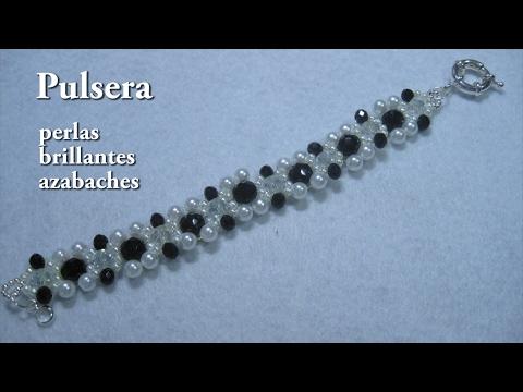 DIY -# -Pulsera de azabaches brilantes y perlas DIY -Shiny jet stones and pearls bracelet
