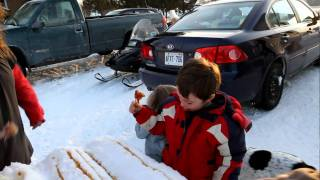 Making Maple Syrup Taffy Lollipops Or Snow Candy In Northern Ont. Read How To Instructions Below.