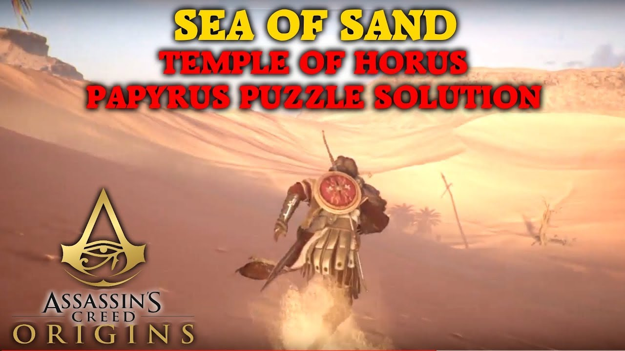 In S Creed Origins Sea Of Sand Papyrus Puzzle Solution Temple Horus