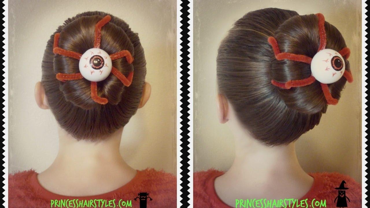 Eyeball Bun Hairstyle For Halloween Or Crazy Hair Day YouTube