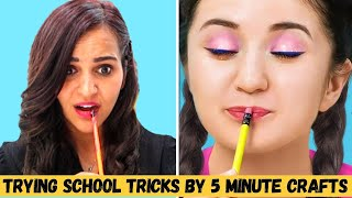 Trying SCHOOL Tricks and HACKS by 5 Minute Crafts😉