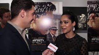 "Devika Bhise at ""The Man Who Knew Infinity"" Red Carpet with Arthur Kade"