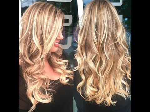 Каскад на средние волосы с мелированием фото