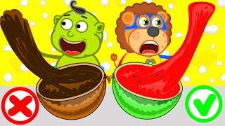Lion Family | Watermelon Slime | Cartoon for Kids
