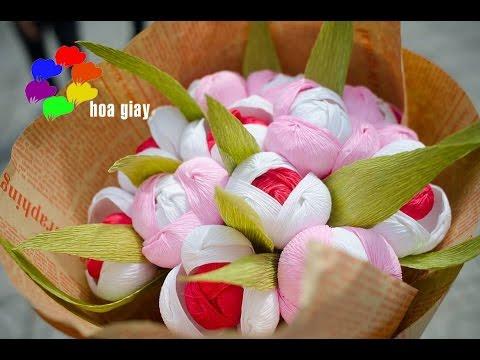 Cách làm Hoa Tulip bằng giấy nhún - TULIP PAPER FLOWER TUTORIAL [hoagiayshop.com]
