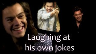 Harry Styles laughing at his own jokes
