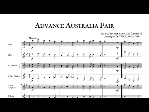 Advance Australia Fair for Concert Band arr Tim Rowland grade 15  Hosenbugler Music