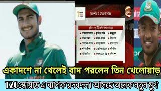 স্কোয়াডে এসেছে নতুন মুখ।বাদ পরেছে তিন খেলোয়াড়। sports news, khelar khobor.