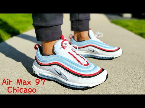 intermitente Brote Sombra  Nike Air Max 97 Chicago Unboxing & On Feet - YouTube