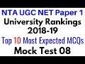 (Mock Test 08) University Rankings 2018-19 Higher Education System NTA UGC NET Paper 1 (10 MCQs)