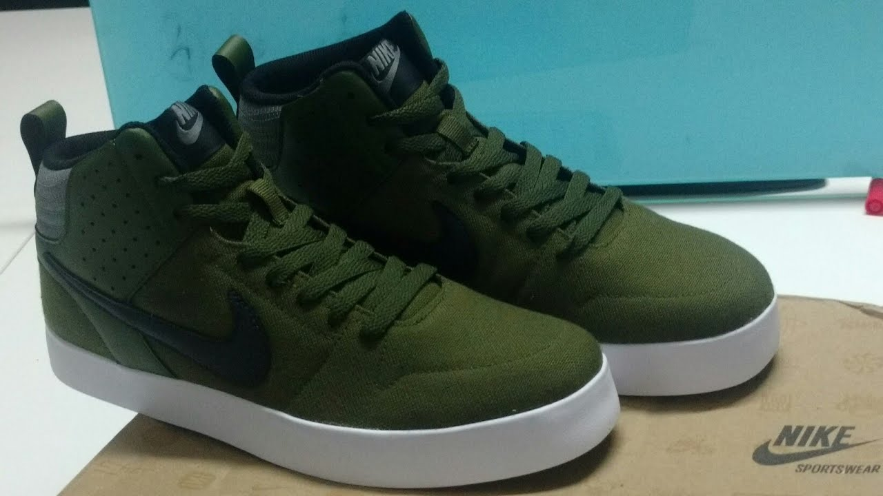 87e6edd927e2 Unboxing of Nike Men Olive Green Liteforce III Mid Top Sneakers ...