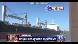 MOMENT SHIP RUNS AGROUND NEAR BURLINGTON BRISTOL BRIDGE