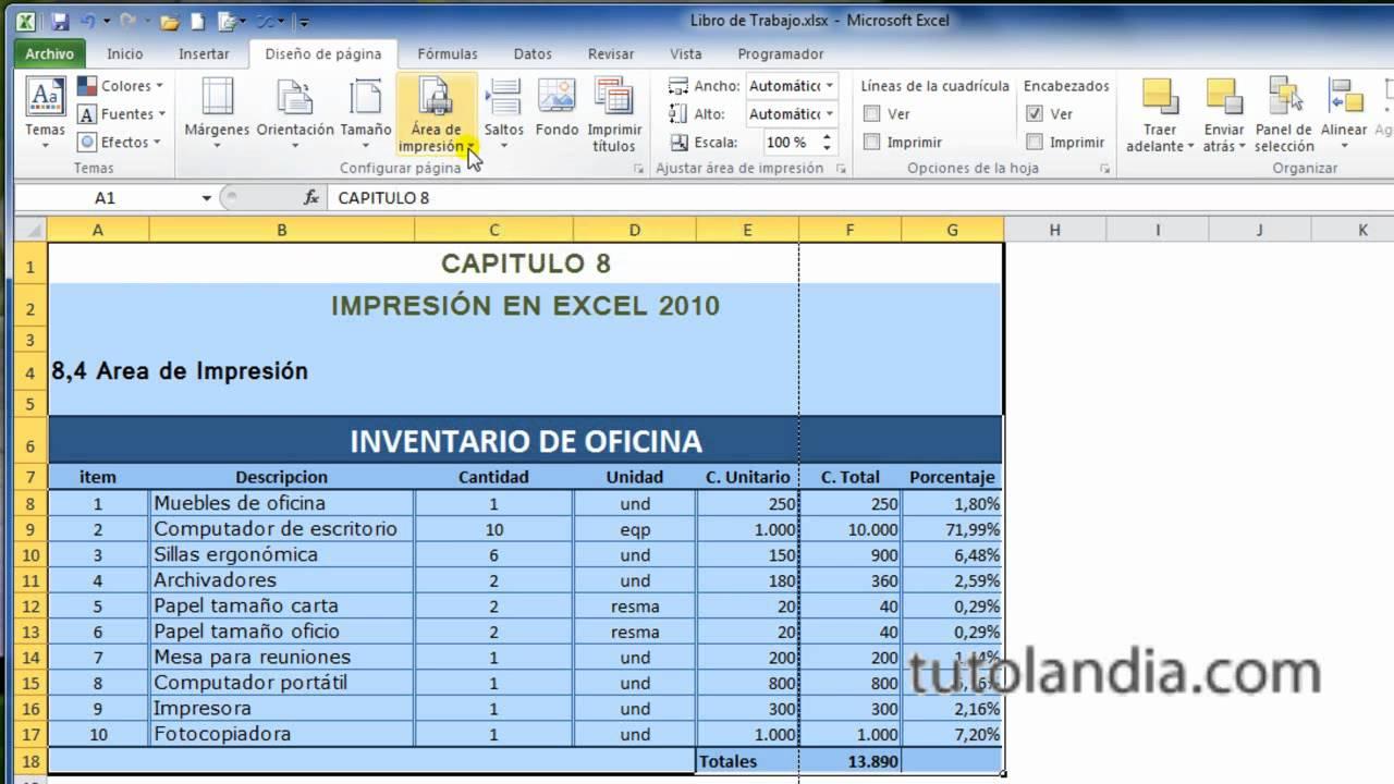 Excel 2010 Basico: 8.4 Area de Impresión - YouTube