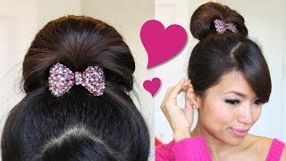 ♥ 1 Minute Perfect Fan Bun Updo Hairstyle | Hair Tutorial Thumbnail