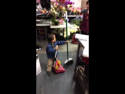 Cleaning at the flowershop