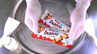 Ice Cream Rolls | how to make kinder bueno white Chocolate rolled fried Ice Cream | satisfying ASMR