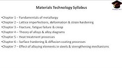 MATERIALS TECHNOLOGY | SYLLABUS